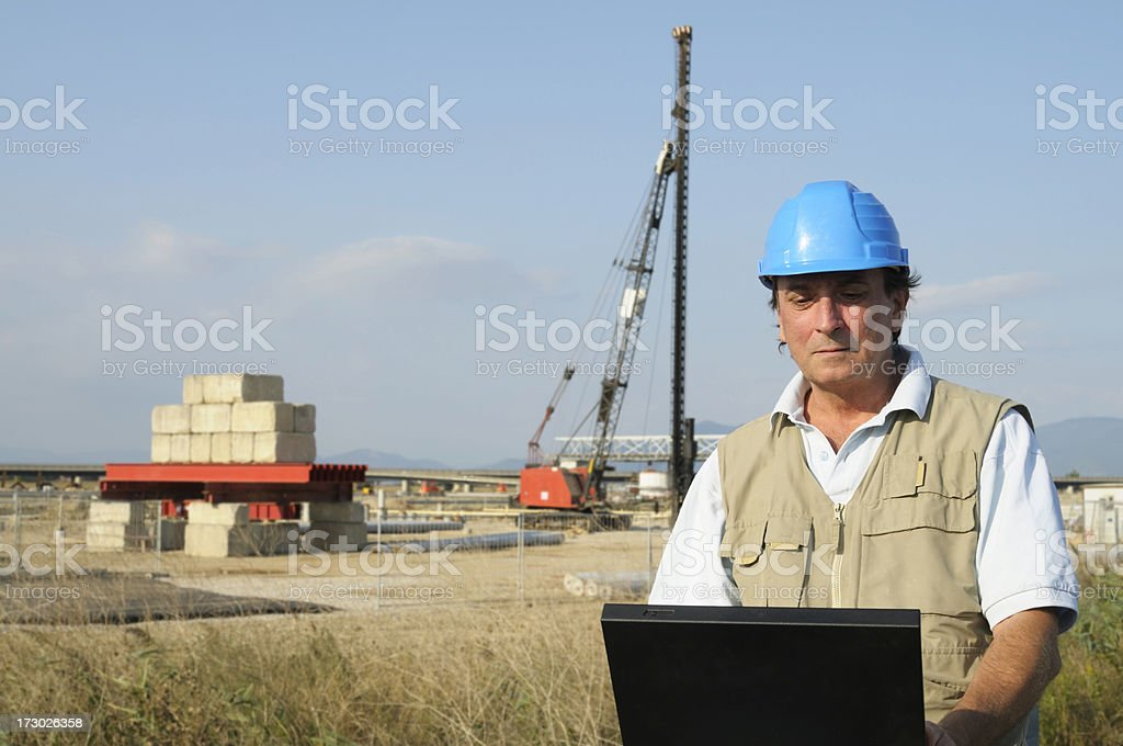Engineer Planning PC Road Construction Site.Copy Space stock photo