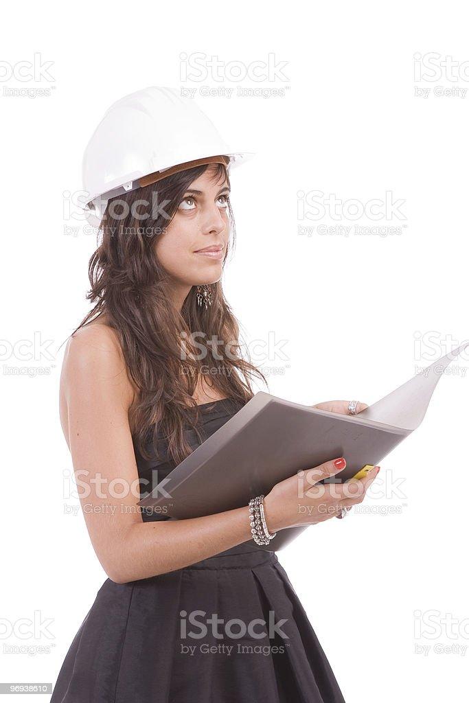 Engineer reading plan royalty-free stock photo