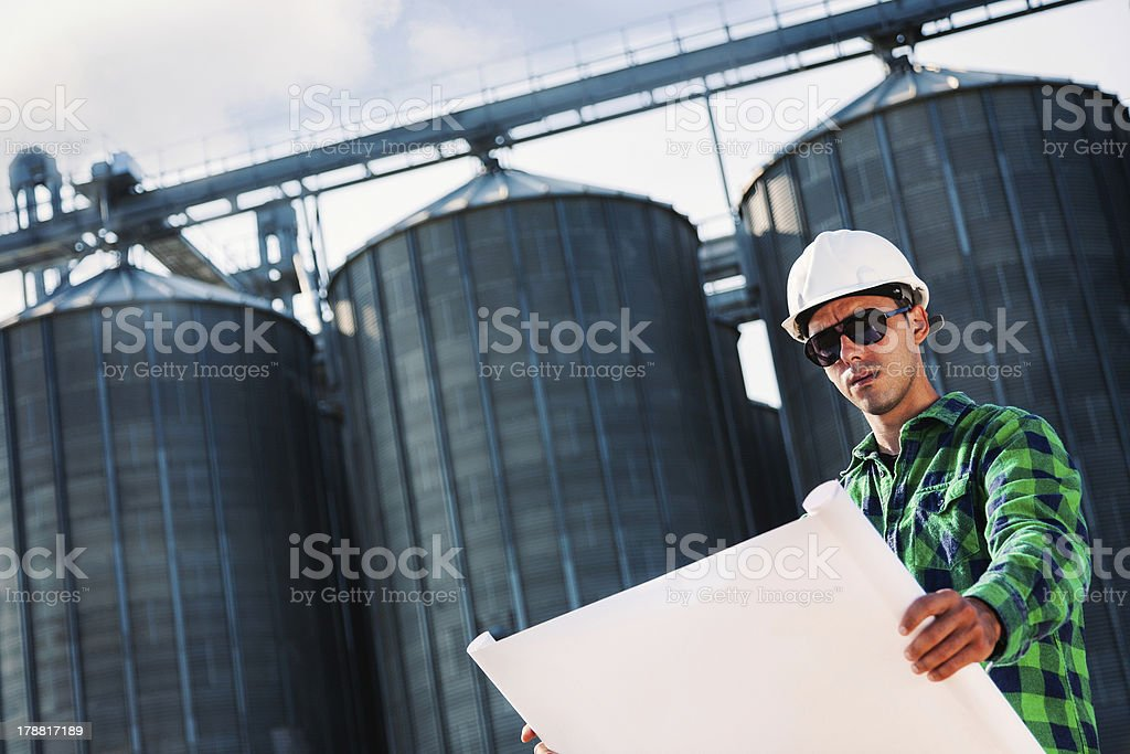 Engineer reading the blueprint royalty-free stock photo