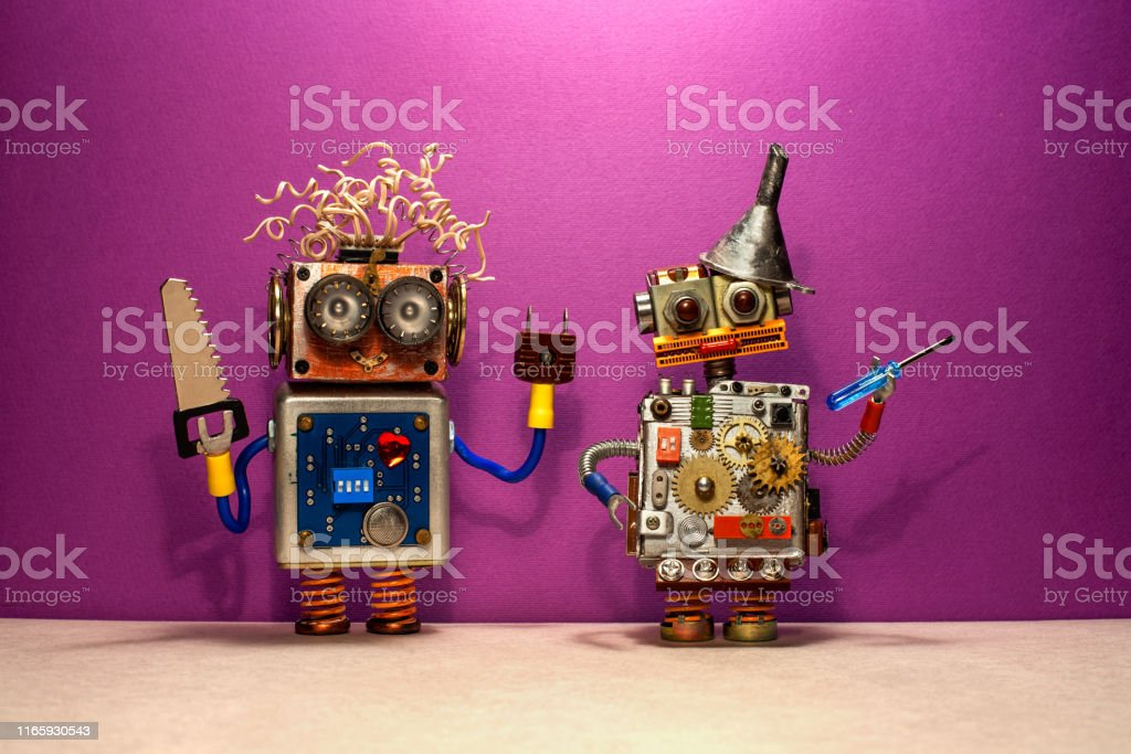 Engineer repair service poster. Two robots serviceman with hand saw...