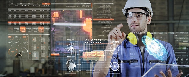 Engineer smart factory machine AR augmented reality digital technology futuristic, industry productive management VR technology app system production control