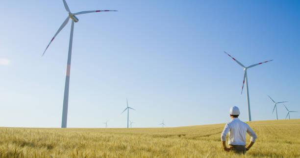 Ingenieur steht im Weizenfeld und schaut sich Windkraftanlagen an, Österreich – Foto