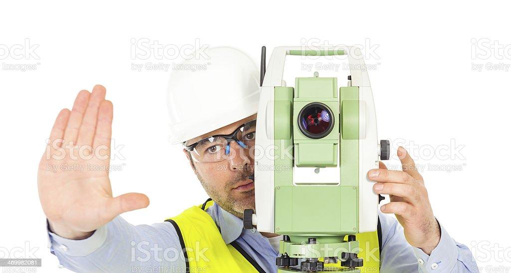 engineer stop gesture royalty-free stock photo