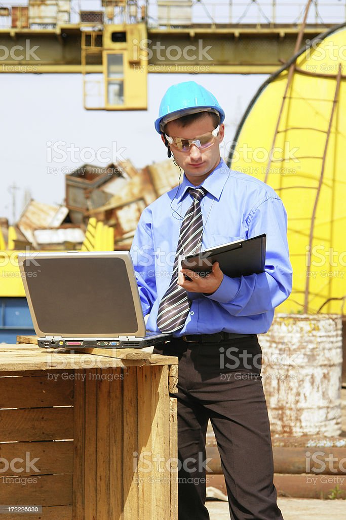 engineer taking notes stock photo