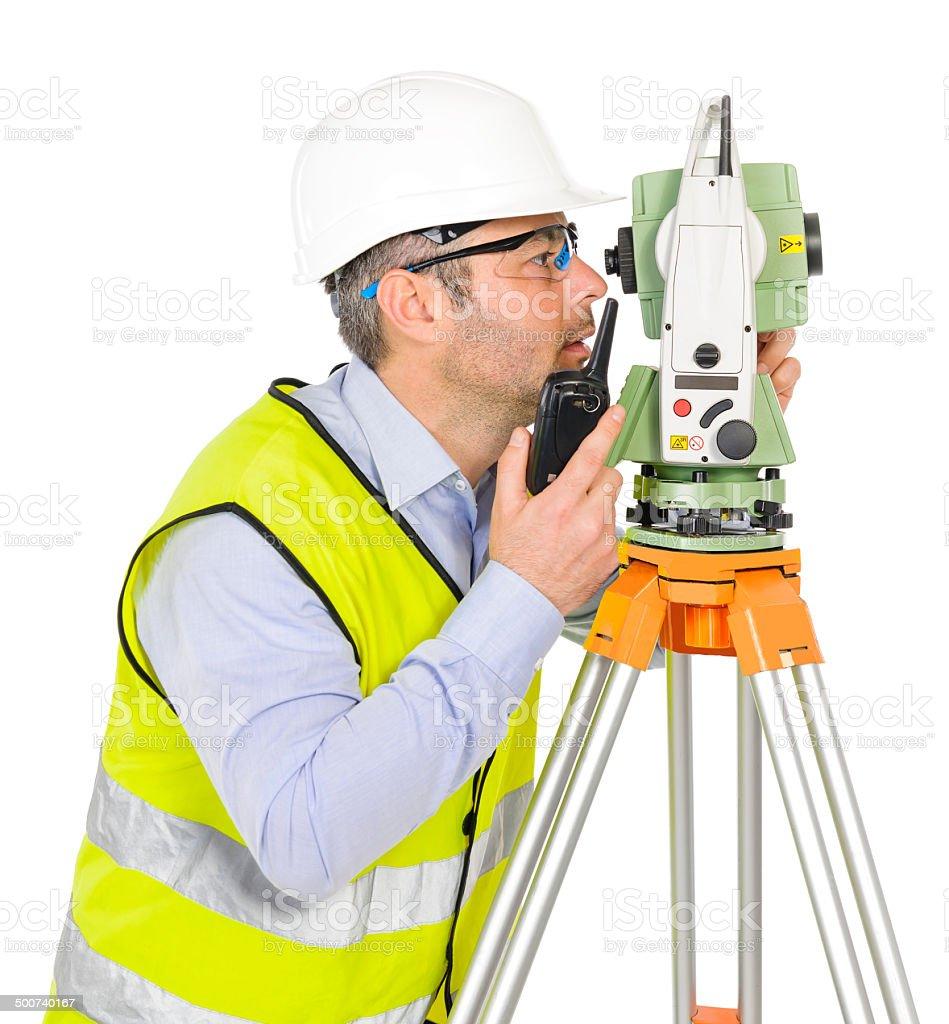 engineer talking at walkie talkie stock photo