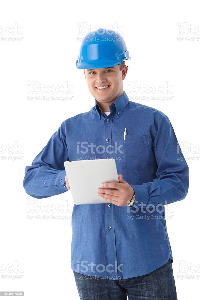 Engineer using tablet PC royalty-free stock photo