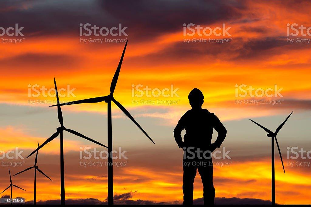 Ingenieur & Wind Farm - Lizenzfrei Abenddämmerung Stock-Foto