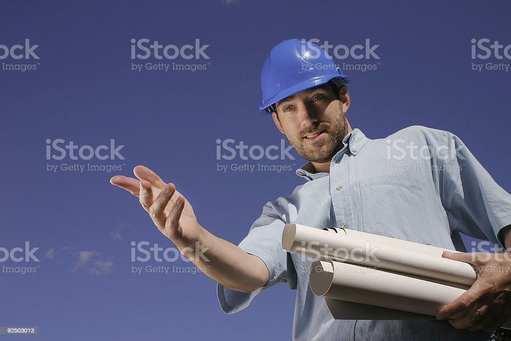 Engineer with blue helmet 1 royalty-free stock photo