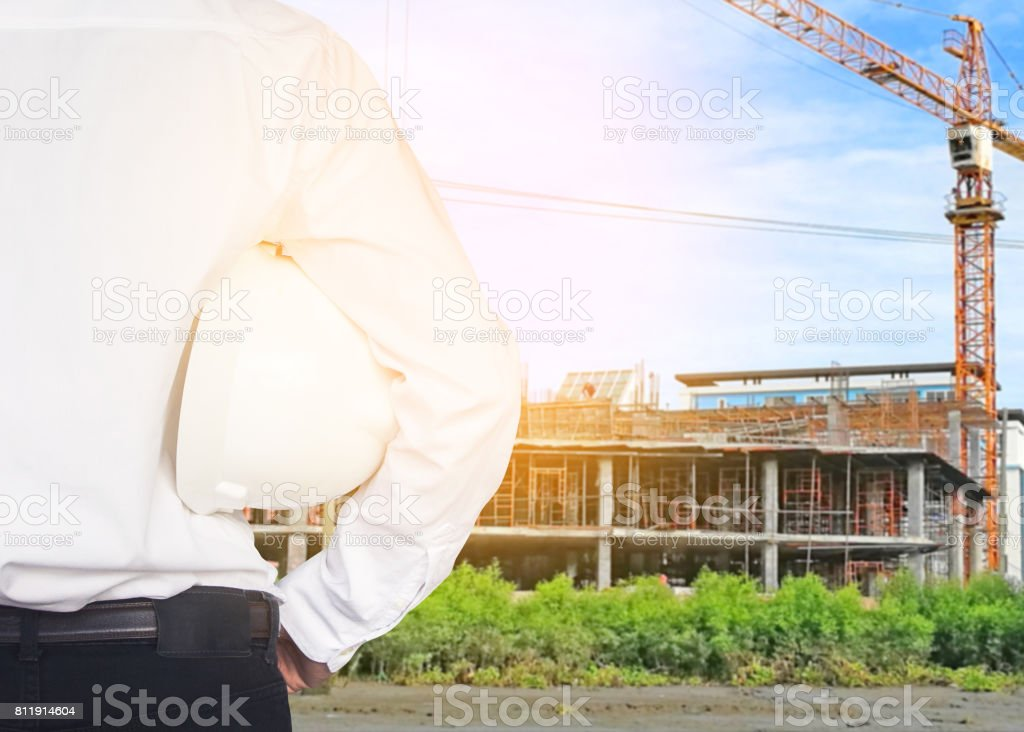 Engineer with construction stock photo