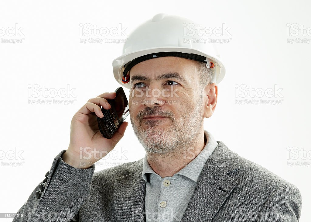 Engineer with mobile phone royalty-free stock photo