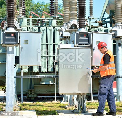 Electrician and high voltage transformer. Man in protective workwear working in power substation.