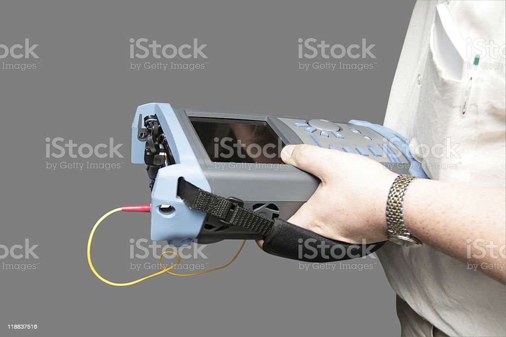 Engineer with reflectometer stock photo