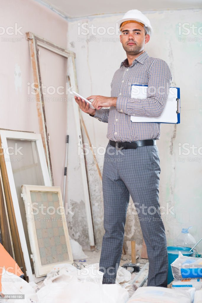 engineer with tablet royalty-free stock photo