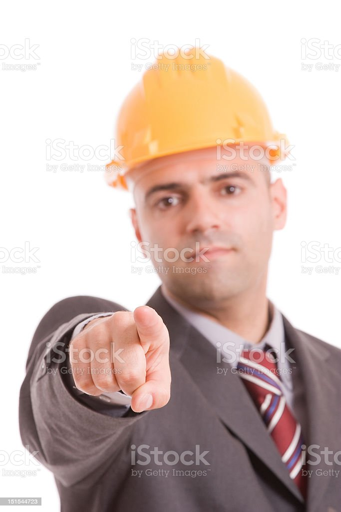 Engineer with yellow hat stock photo