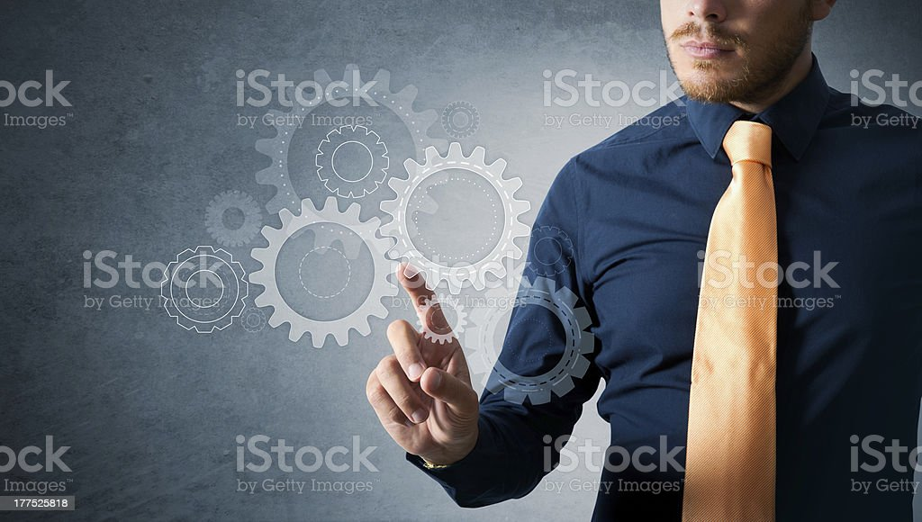Engineer work with gear royalty-free stock photo