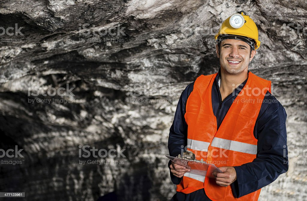Engineer working at a mine stock photo
