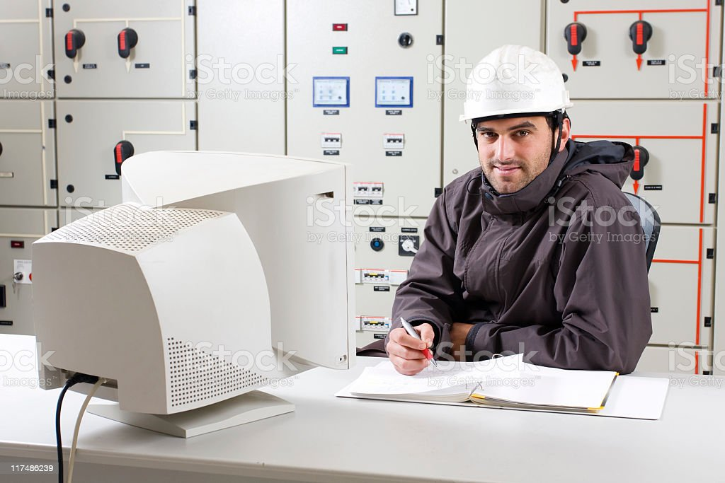 Engineer working in a power plant. royalty-free stock photo