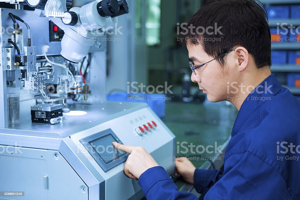 Engineer working in the laboratory stock photo