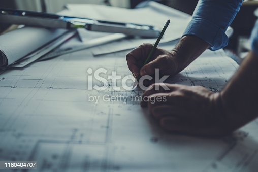 Hand drawing on a blueprint