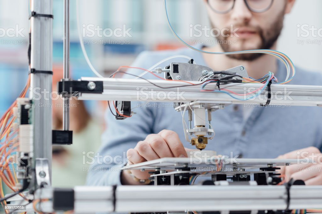 Engineering and 3D printing stock photo