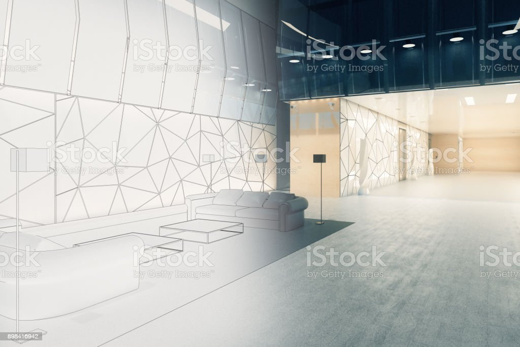 Engineering and blueprint concept stock photo