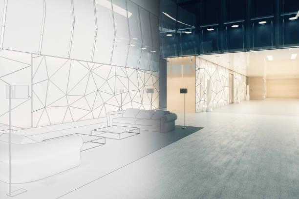 engineering und blaupause konzept - foyerdesign stock-fotos und bilder