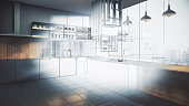 Abstract unfinished kitchen interior drawing. Engineering and plan concept. 3D Rendering