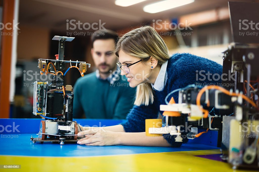 Engineering and robotics student royalty-free stock photo