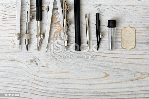 611108702 istock photo Engineering and school instruments are in a row. 610951950