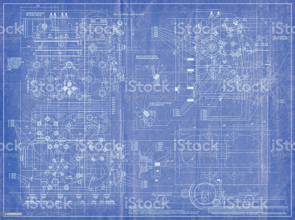 Engineering Blueprint stock photo