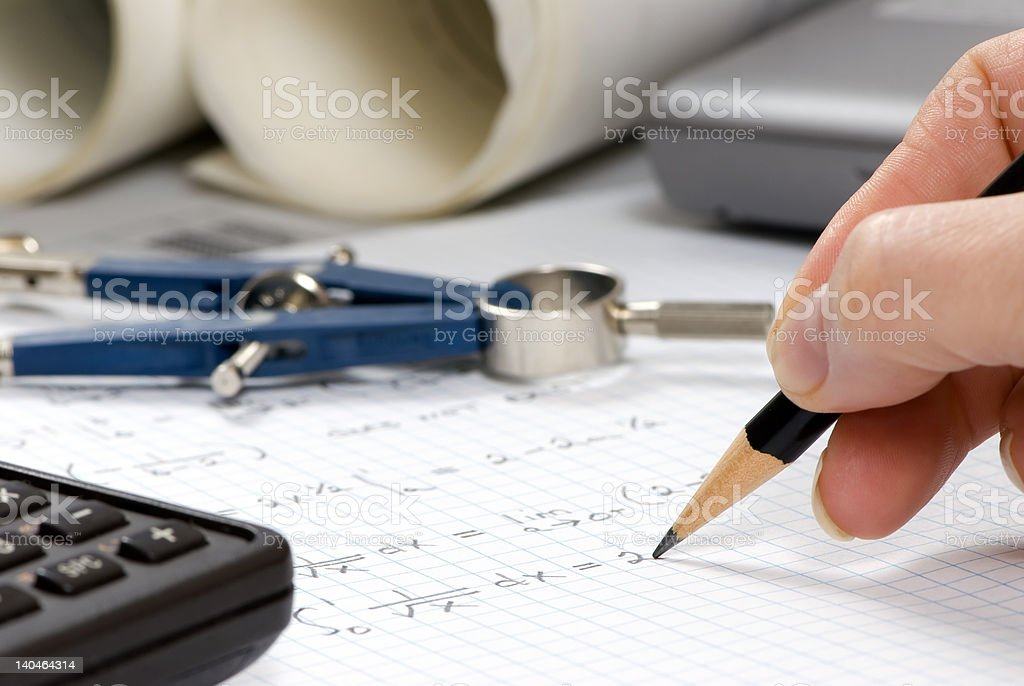 Engineering Calculations royalty-free stock photo
