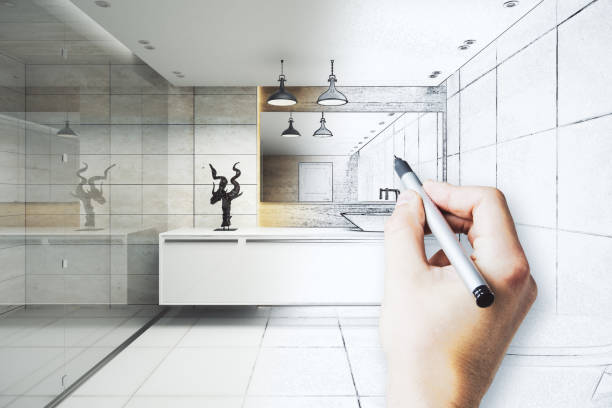 engineering concept - bathroom renovation stock photos and pictures