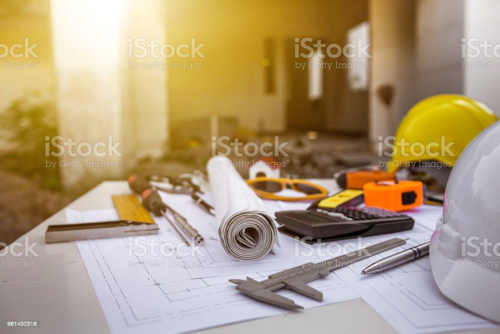 Engineering diagram blueprint paper drafting project sketch architectural. industrial drawing detail and several drawing tools royalty-free stock photo
