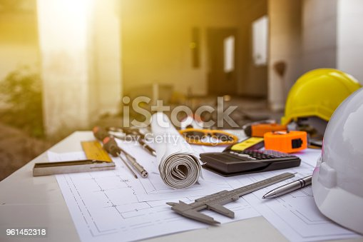 istock Engineering diagram blueprint paper drafting project sketch architectural. industrial drawing detail and several drawing tools 961452318