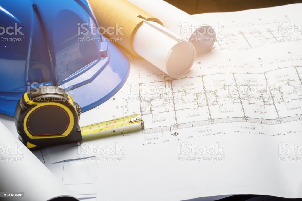 engineering diagram blueprint paper drafting project sketch stock photo