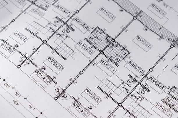 esboço de projeto de elaboração de papel do diagrama planta engenharia - foto de acervo