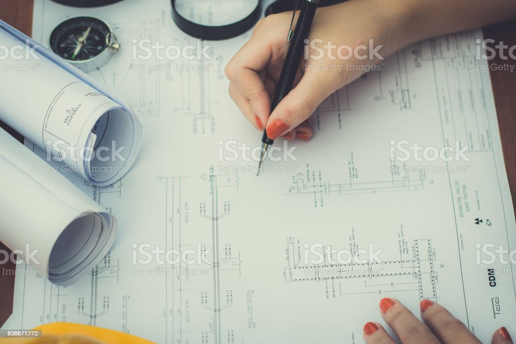 Engineering diagram blueprint paper drafting project sketch engineering diagram blueprint paper drafting project sketch architectural royalty free stock photo malvernweather Gallery