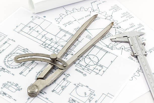engineering trennwände tools und vernier-skala - produktdesigner stock-fotos und bilder