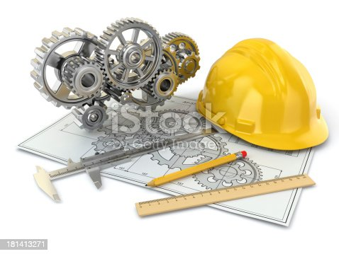 istock Engineering drawing. Gear, hardhat, pencil and draft. 181413271