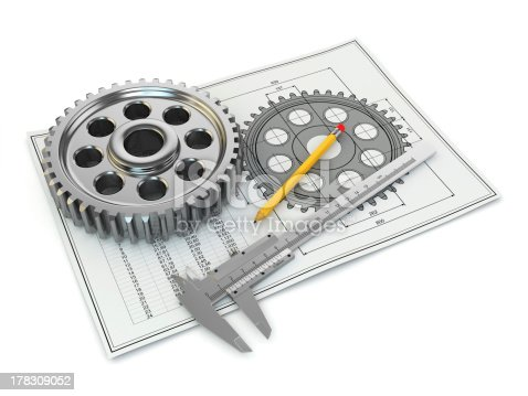 istock Engineering drawing. Gear, trammel, pencil and draft. 178309052
