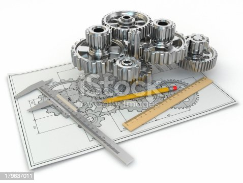 istock Engineering drawing. Gear, trammel, pencil and draft. 179637011