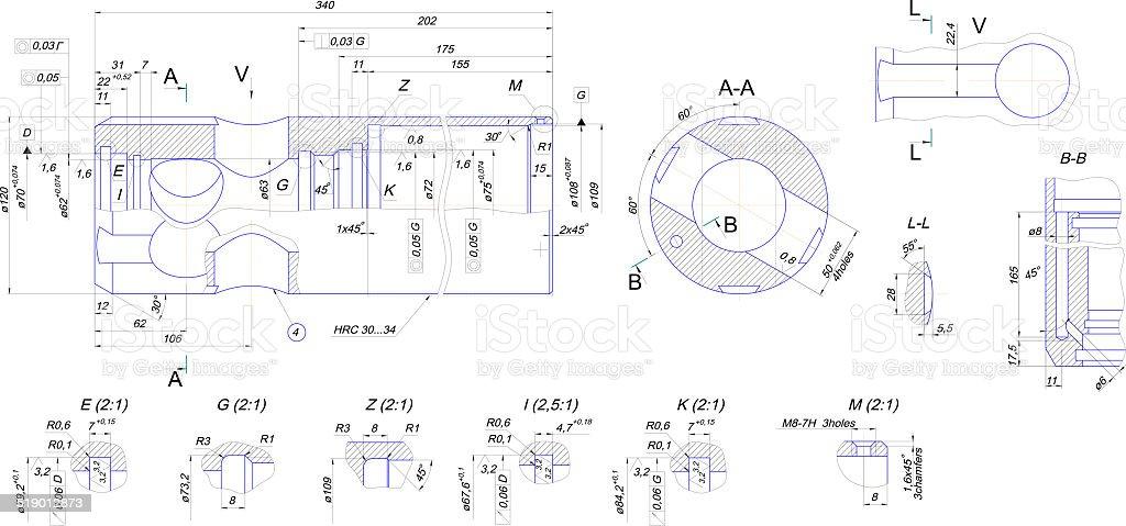 EngineerEngineering drawing of industrial equipment. Vector format