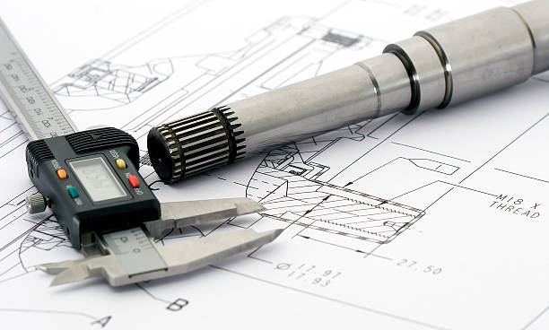 Engineering drawing tools on a layout stock photo
