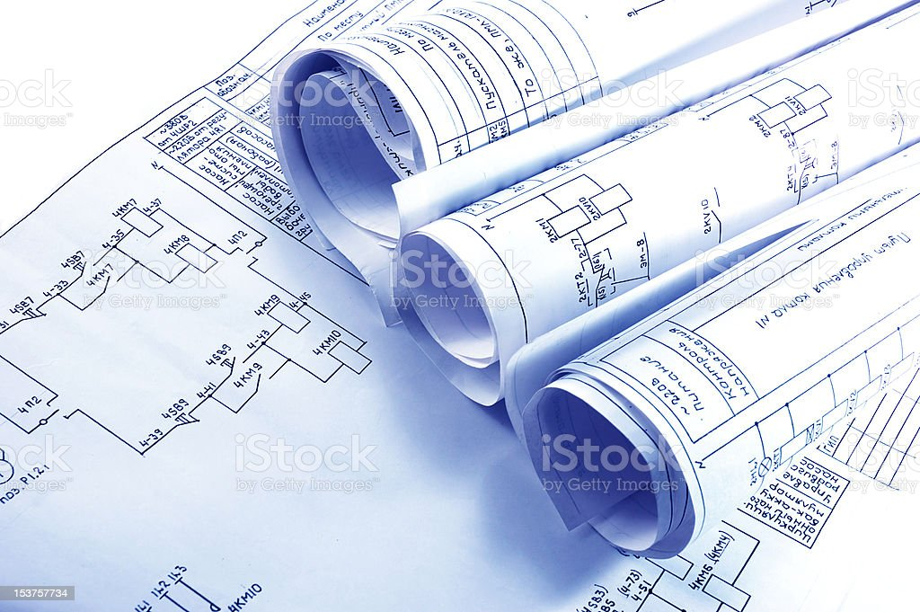 Engineering electricity blueprint rolls stock photo