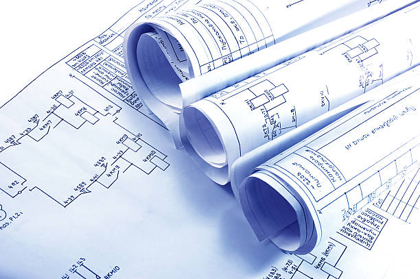 engineering electricity blueprint rolls - diagram stock pictures, royalty-free photos & images