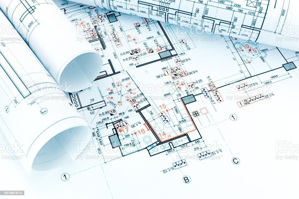 Engineering electricity technical project with rolls of engineering electricity technical project with rolls of architectural blueprints royalty free stock photo malvernweather Gallery