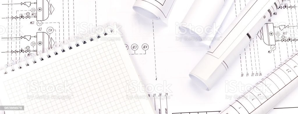 Engineering heating. Concept Heating. Project of heating for house. stock photo