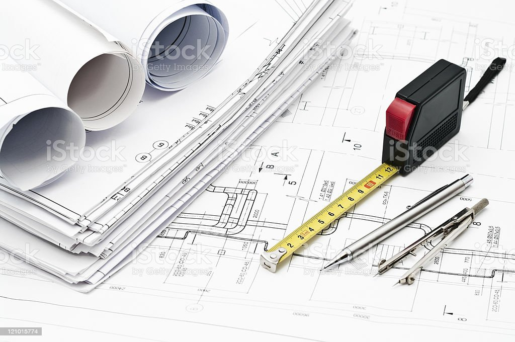 Engineering instruments and working drawings royalty-free stock photo