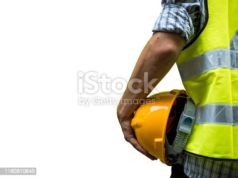 Engineering man standing with yellow safety helmet isolated on white background