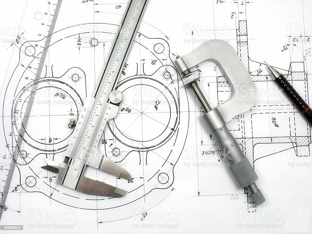 Engineering tools on technical drawing royalty-free stock photo